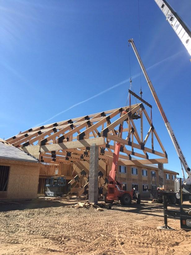 Timber framing in Escalante, Utah