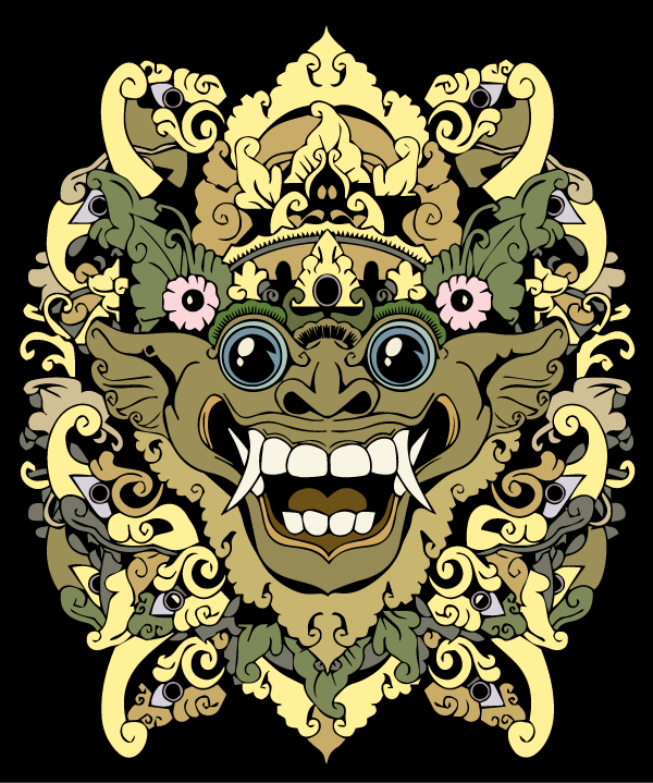 Bali Barong Head Vector Art Design in Color