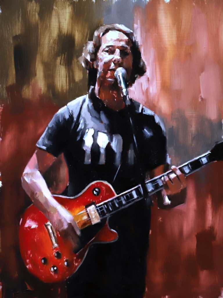 Portrait artist Bath guitarist painting