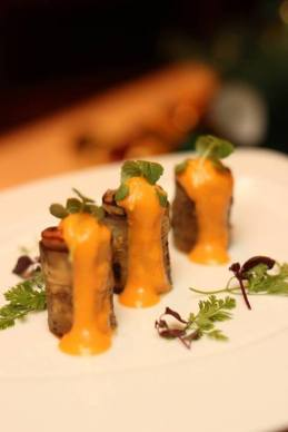 Rolled Eggplant Cannelloni filled with Vegetable Caponata