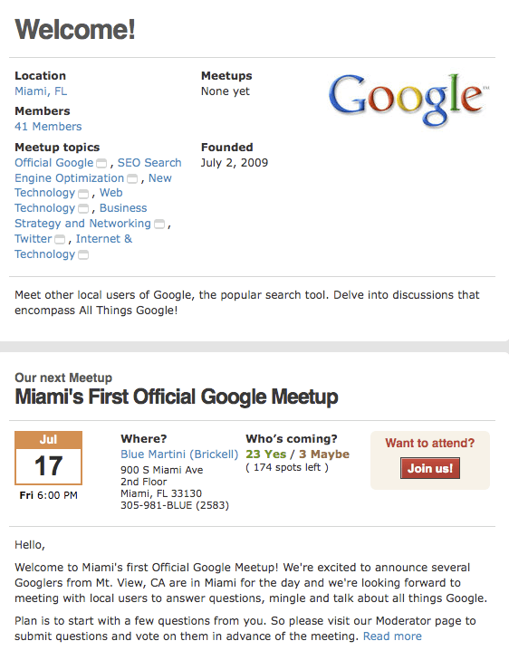Miami's First Official Google Meetup
