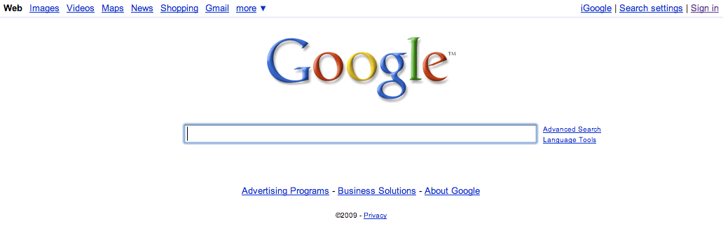 Regular Google Homepage