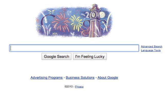 Google Happy New Year 2010 Doodle