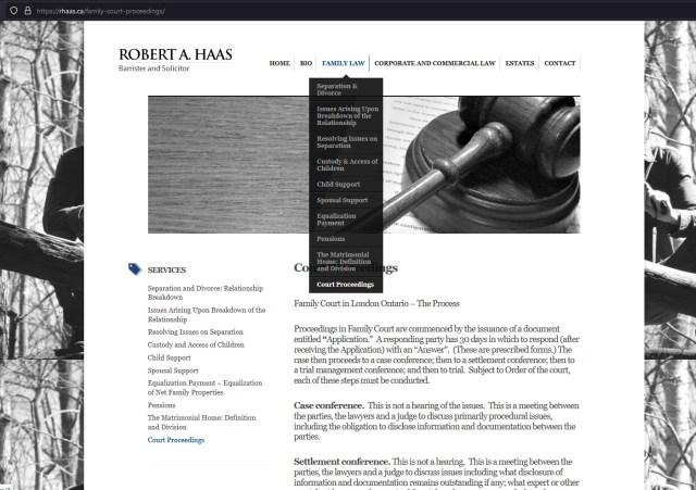Old website template submenu