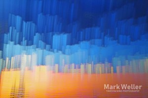 Timestack photography of abstract blue and orange