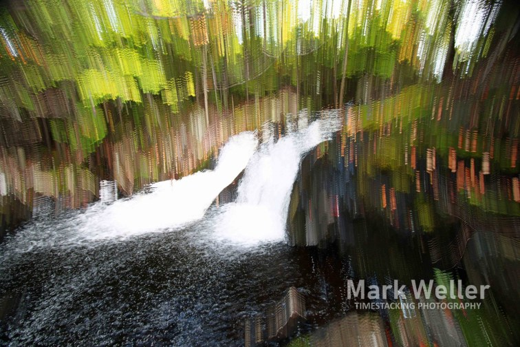 Timestack photography green rushing water