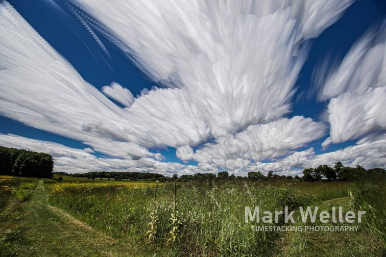 Timestack photography of clouds and prairie