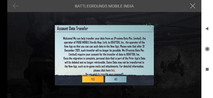 Transfer PUBG Mobile game data to Battlegrounds Mobile India Transfer PUBG Mobile data to Battlegrounds Mobile India