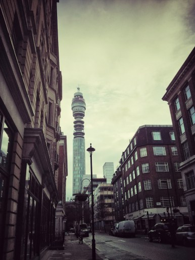 Project 365: 2014 - Day Forty Eight Made a mental note to take a photo of the BT Tower, or whatever it's called now, on my way to or from work. Still a pretty impressive looking thing. On the way home, I'm in a mad rush to get my train, so morning time shot will have to do.