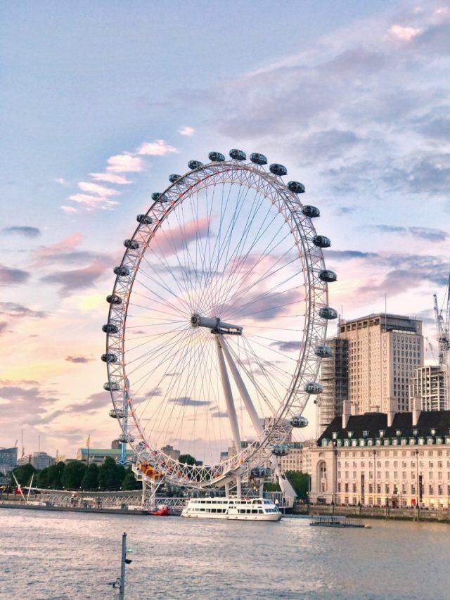 London eye sunset along the thames London landmark