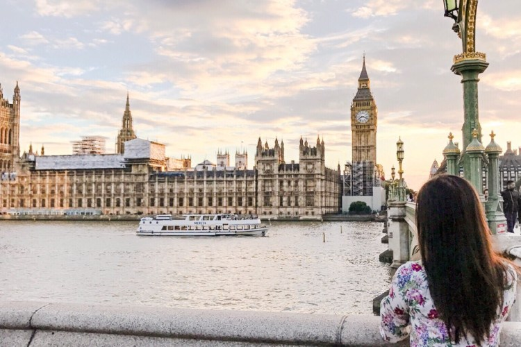 Looking at the Big Ben along the Thames, London Landmark