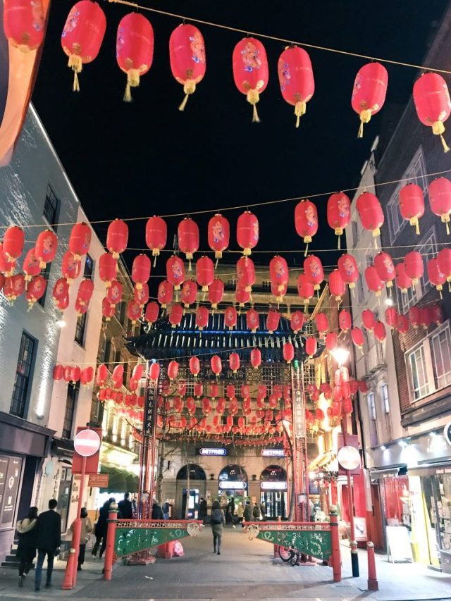 Red lanterns in London Chinatown Chinese New Year