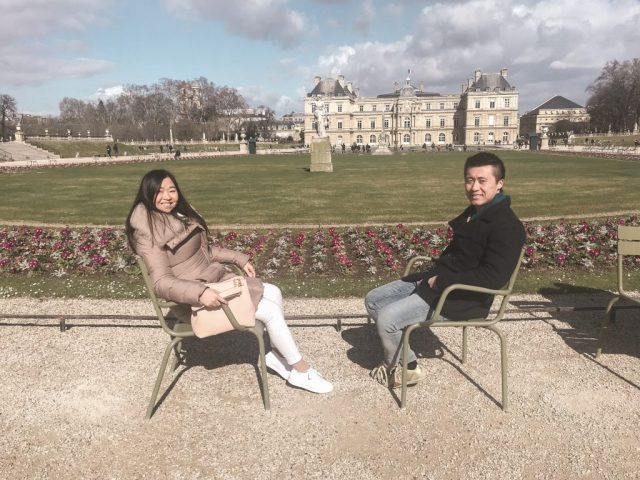 Sun chairs in Luxembourg garden