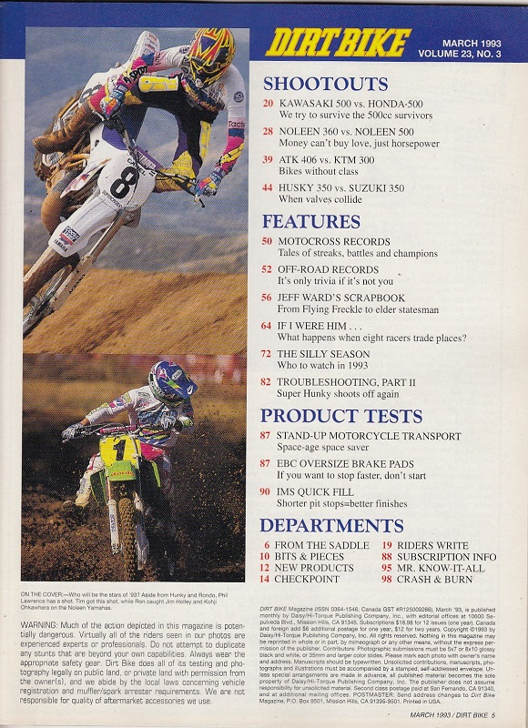 DIRT BIKE Magazine March 1993