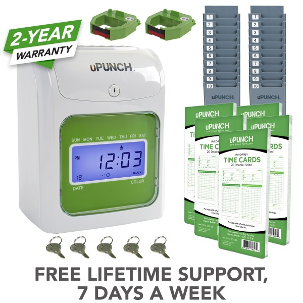 upunch time clock, green time clock