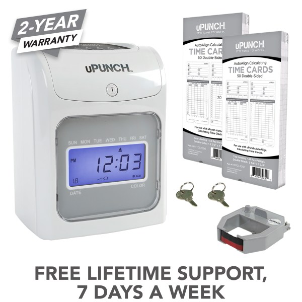 upunch time clock, calculating time clock
