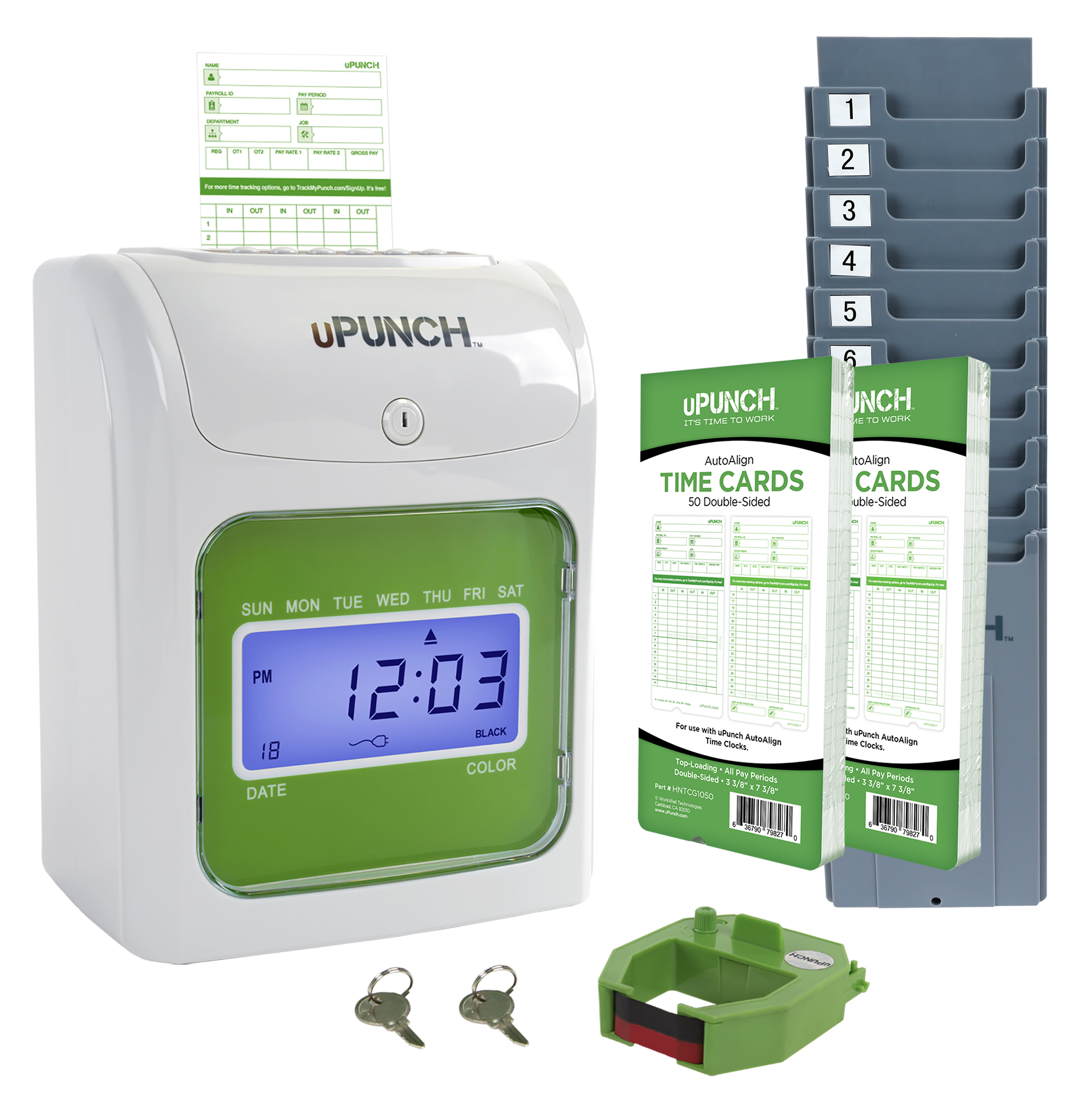 uPunch Time Clock, employee time clock, time card rack, time clock ribbons