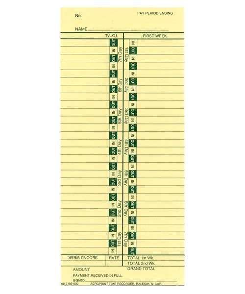 Time Cards: Standard Bi-Weekly