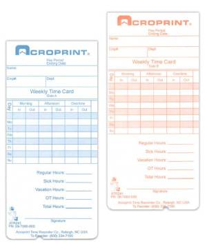 ATR240/360 Weekly/Bi-Weekly Time Card