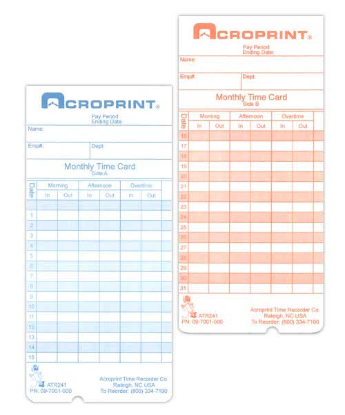 ATR240/360 Monthly Time Card