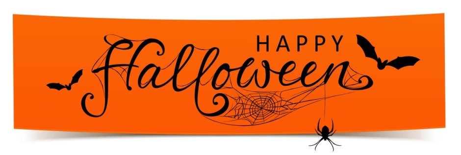 Happy Halloween - Banner mit kalligrafischen Schriftzug, Fledermusen und Spinnennetz
