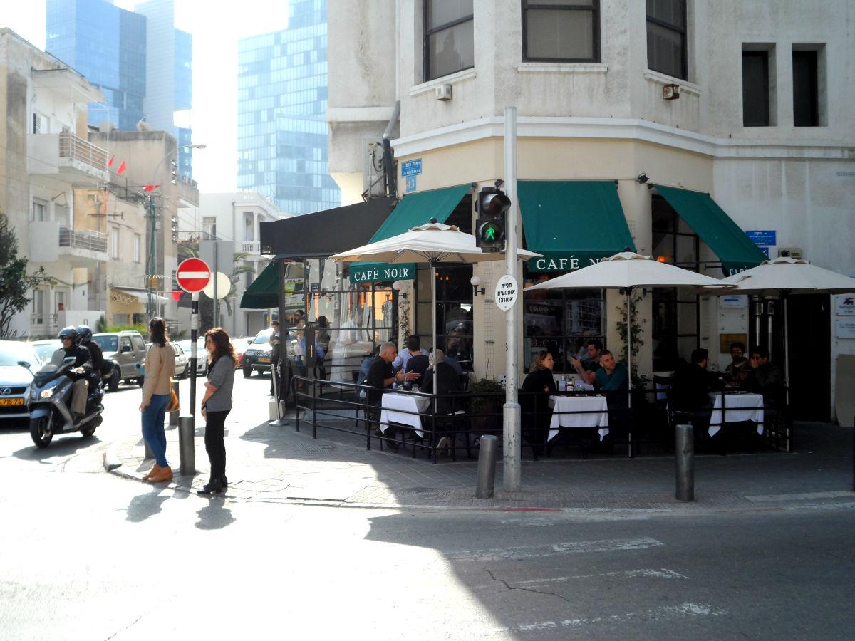 View from the corner street of Cafe Noir in Tel Aviv