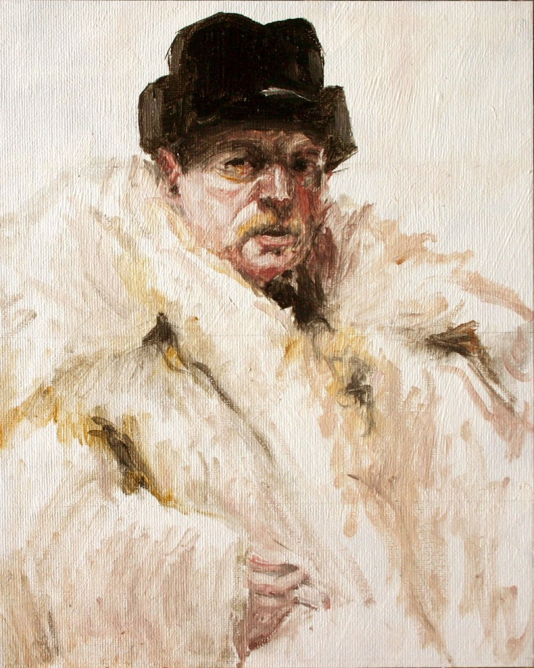 Self Portrait in a Wolf Fur Coat after Anders Zorn