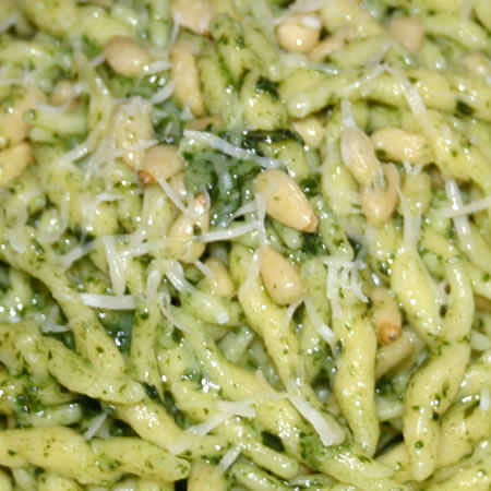 Trofie Pasta with fresh basil pesto, pine nuts and grated parmesan