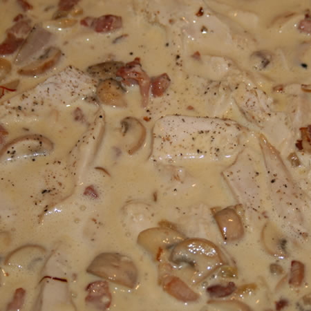 Chicken and Mushrooms with a Cream Sauce