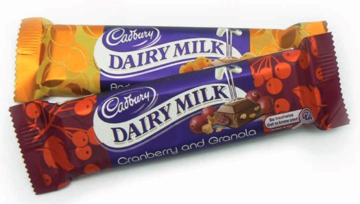 cadbury cranberry and granola and apricot crunch
