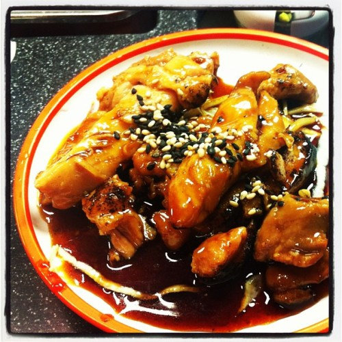 Chicken Teriyaki Grilled chicken in a sweet, sticky soy based sauce.