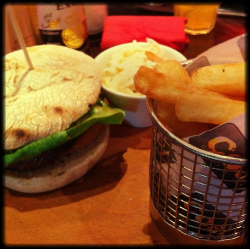Classic burger tomato, lettuce, coal-slaw, spicy relish and chips