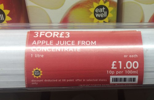 As you can see, the juice is £1 or three for £3...