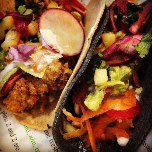 crispy chicken tacos, pulled pork tacos