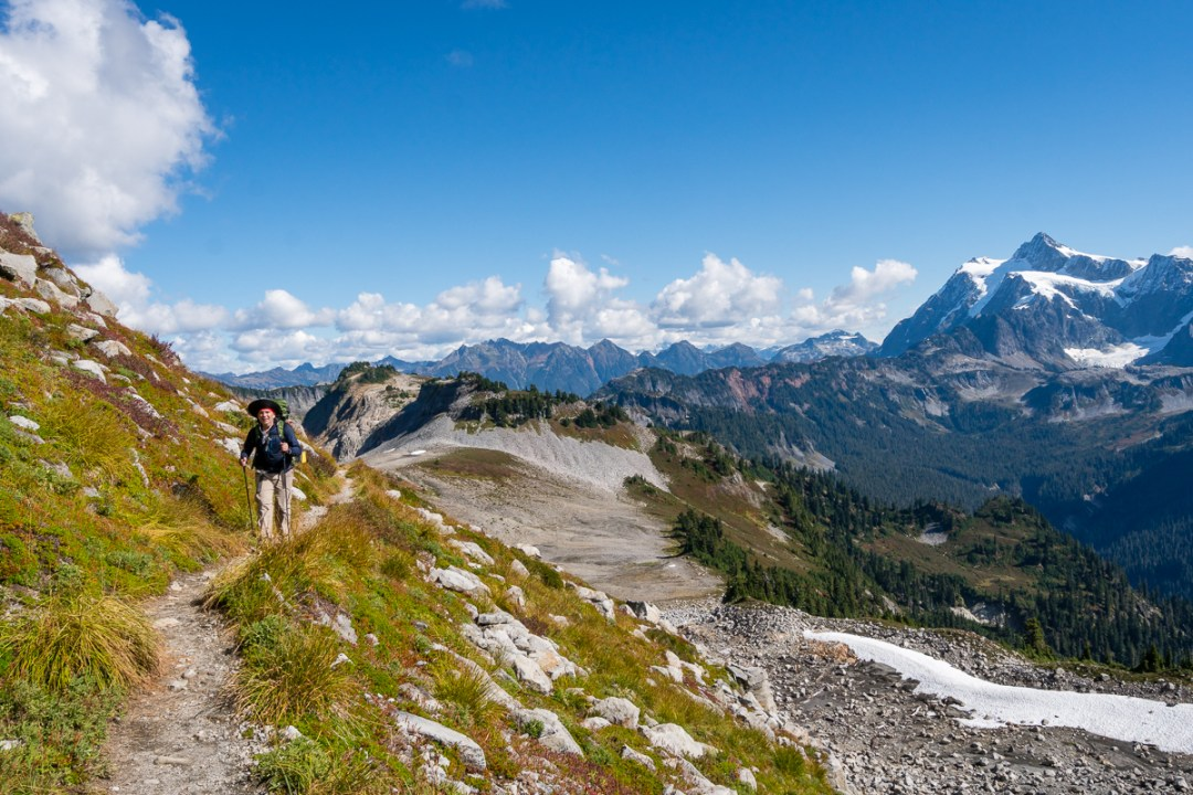 Hiking the Ptarmigan Ridge Trail with Mt. Shuksan in the background.