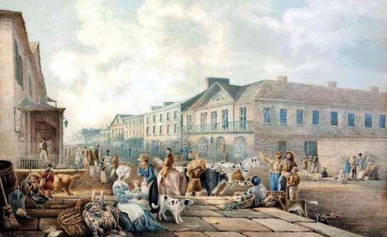 George Street Sydney 1842 looking south