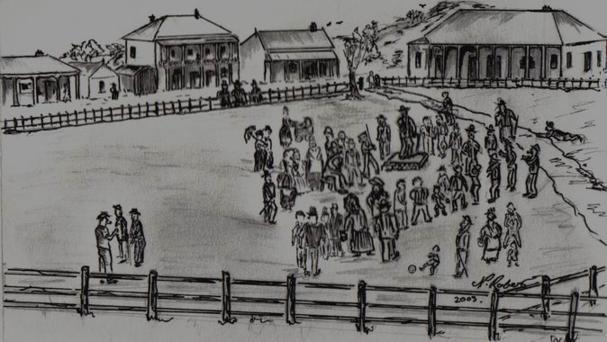 An artist's impression of Perry's temperance lecture at Market Square in 1884. Local publicans, including Lysaght, can be seen looking from in front of the Queens Hotel, the two storey building on the left. The former single storey Wollongong Hotel can be seen on the right. Picture by Neville Roberts.