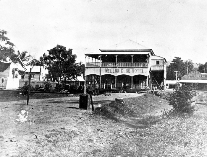Mellum Club Hotel in the process of being moved to Cribb Street Landsborough ca. 1914.tiff