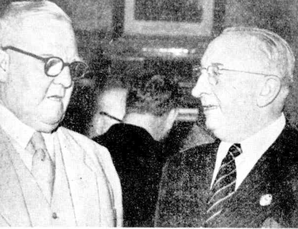President of the Australian United Licensed Victuallers Association, Jack Ahern and president of the NSW United Licensed Victuallers Association, Len Plasto at a function in 1954.
