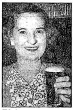 Right. A correctly poured glass of beer should have a creamy head. Miss E Sutherland, of Ashfield, shows how it should be done