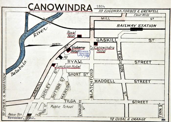 Canowindra hotels map November 1962 ANU
