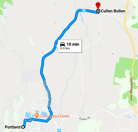 portland to cullen bullen map