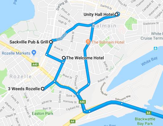 Balmain Road Trip Map