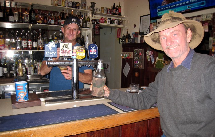 Phill Carney behind bar with Booker Lue Hotel Lue NSW 2019 TG