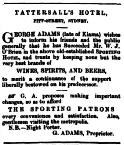 Tatts Hotel advert Morning Bulletin rockhampton qld 1879