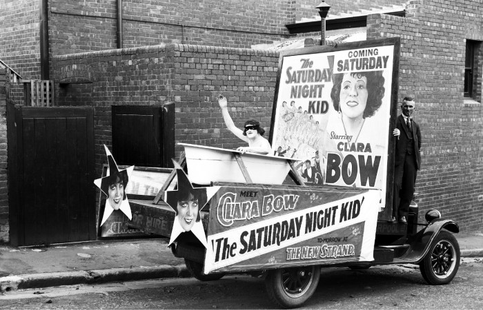 Advertising for Saturday Night Kid with Clara Bow showing at the New Strand Theatre Liverpool Street Hobart Truck is parked in Watchorn Street 1929 Libraries Tasmania