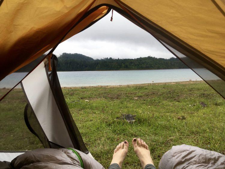 tent lake view