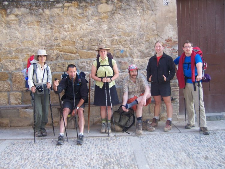 Pilgrims about to start hiking for the day