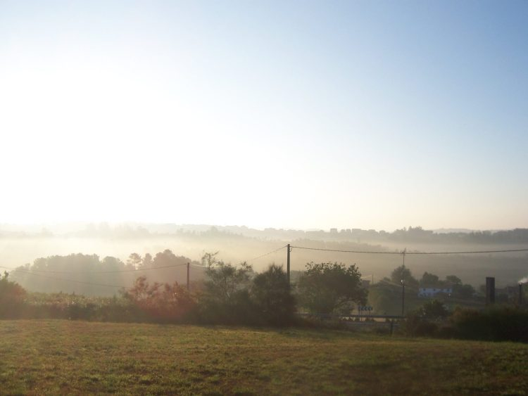 Fog lifts in the morning over the Spanish countryside
