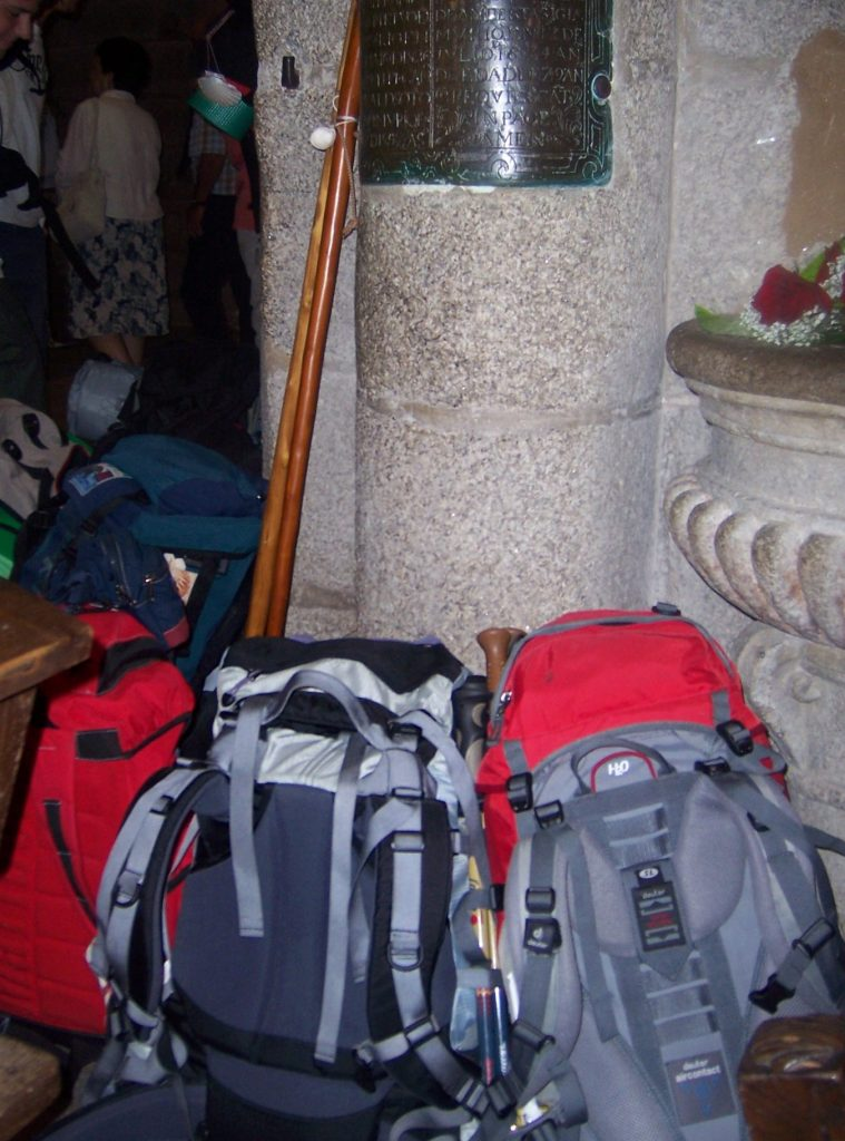 Backpacks resting in the Santiago cathedral